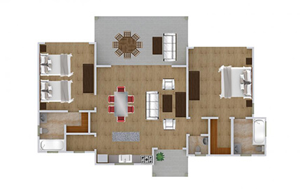 Floor plan, 2-bedroom oceantfront