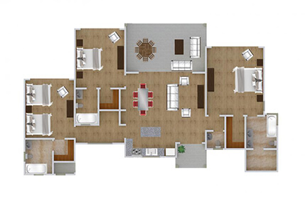 Floor plan, 3 bedroom oceanview model