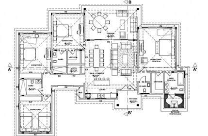 Floor plan 4-bedroom oceanfront villa