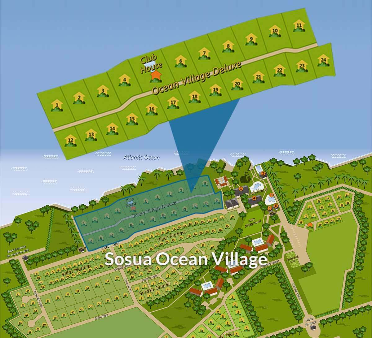 Map of Sosua Ocean Village, DR