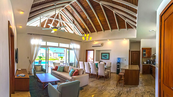 Ocean view through living room in OVD villa