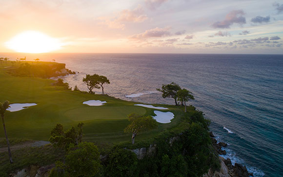 Sunset over ocean green, Playa Grande
