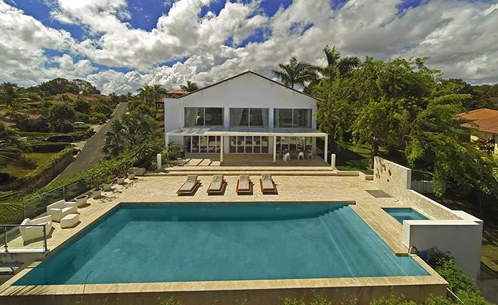 Beautiful pool and deck in villa backyard
