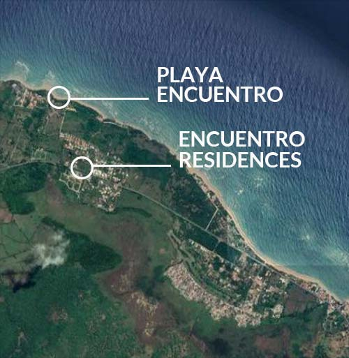 Mapa que muestra la ubicación de Ecuentro Residences y Playa Encuentro